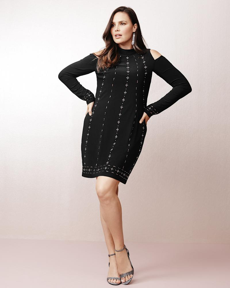 "From WHBM's new plus collection, featuring the <a href=""https://www.whitehouseblackmarket.com/store/product/plus+coldshoulder+black+knit+shift+dress/570221610?color=001&catId=cat11659287"" target=""_blank"">Cold Shoulder Black Knit Shift Dress</a>."