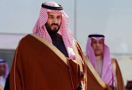 Saudi Deputy Crown Prince Mohammed bin Salman attends a graduation ceremony and air show marking the 50th anniversary of the founding of King Faisal Air College in Riyadh