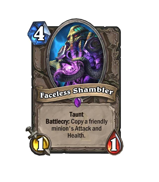 """<p>""""Hey, I need another one of these, but with Taunt,"""" you may think of your <a href=""""http://hearthstone.gamepedia.com/Molten_Giant"""" rel=""""nofollow noopener"""" target=""""_blank"""" data-ylk=""""slk:Molten Giant"""" class=""""link rapid-noclick-resp"""">Molten Giant</a>. Good news! Faceless Shambler is coming.</p>"""