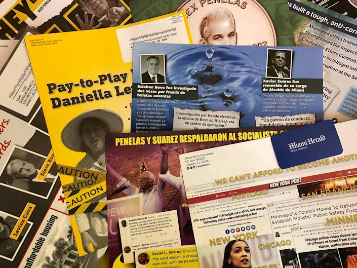 A sampling of attack mailers in the 2020 non-partisan campaign for Miami-Dade mayor.