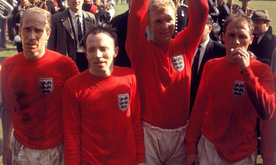 Nobby Stiles with Bobby Charlton, Bobby Moore and Ray Wilson after the 1966 World Cup final