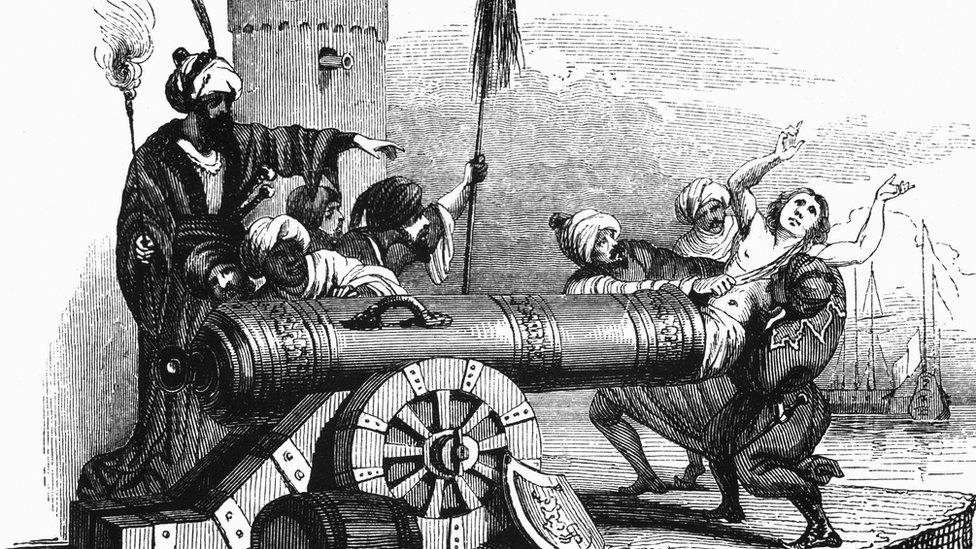A drawing showing French ambassador Jean Le Vacher about to be fired from a cannon in 1683