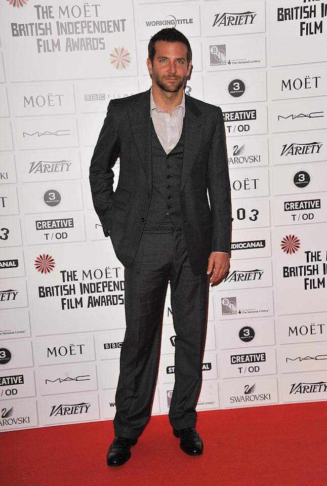 """<a href=""""http://movies.yahoo.com/movie/contributor/1804751131"""">Bradley Cooper</a> at the 2011 British Independent Film Awards on December 4, 2011 in London, England."""
