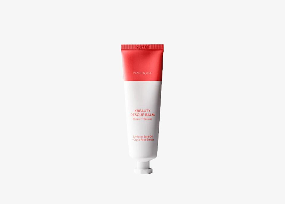 "We love products that are great at multitasking and minimizing space while traveling. This rescue balm is a universal salve that can cure dryness and heal burns anywhere on your body. The formula is made from a blend of sunflower seed oil, coptis root extract, and ceramides (fats found in the upper layer of skin). Its texture is like a thick cream that melts onto your skin when you rub it in and does not get greasy or sticky throughout the day. No more worrying about chapped lips or dry hands or feet with this rescue balm. $28, Peach & Lily. <a href=""https://www.peachandlily.com/products/kbeauty-rescue-balm"" rel=""nofollow noopener"" target=""_blank"" data-ylk=""slk:Get it now!"" class=""link rapid-noclick-resp"">Get it now!</a>"