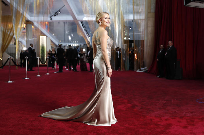 FILE - Scarlett Johansson arrives at the Oscars on Feb. 9, 2020, in Los Angeles. Johansson turns 36 on Nov. 22. (AP Photo/John Locher, File)