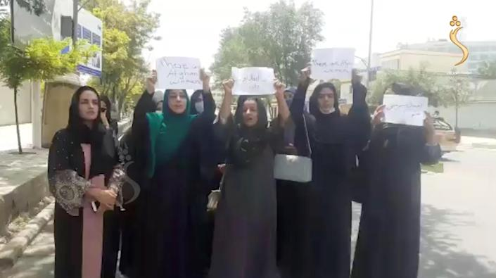 A group of women hold a street protest calling on the Taliban to protect their rights, in Kabul, Afghanistan, August 17, 2021. / Credit: Shamshad News/via REUTERS