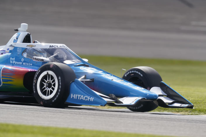 Scott McLaughlin, of New Zealand, drives during qualifications for the IndyCar auto race at Indianapolis Motor Speedway, Friday, May 14, 2021, in Indianapolis. (AP Photo/Darron Cummings)