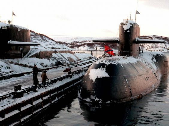 Russian nuclear submarines shown in their Arctic base of Severomors (AP)