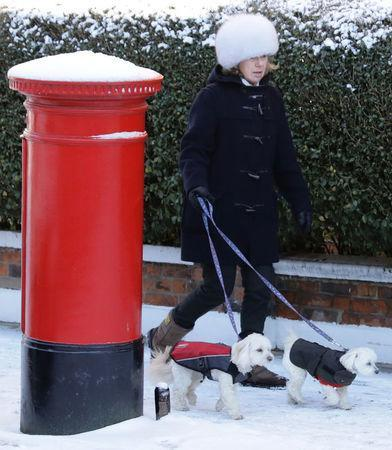A woman walks her dogs in the snow in Parsons Green, West London, Britain February 28, 2018. REUTERS/Kevin Coombs