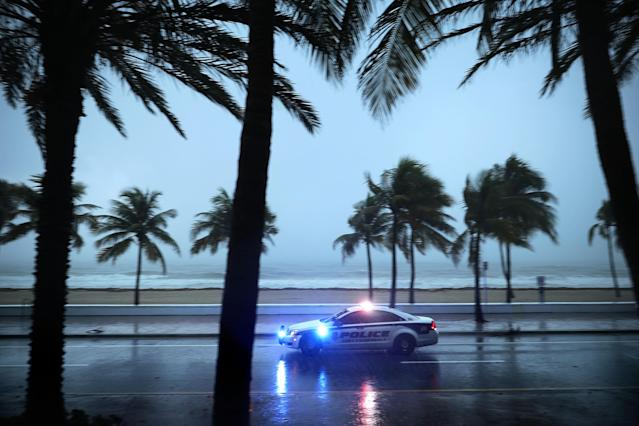 <p>Police patrol the street running along Sebastian Street Beach ahead of the arrival of Hurricane Irma, Sept. 9, 2017 in Fort Lauderdale, Fla. (Photo: Chip Somodevilla/Getty Images) </p>