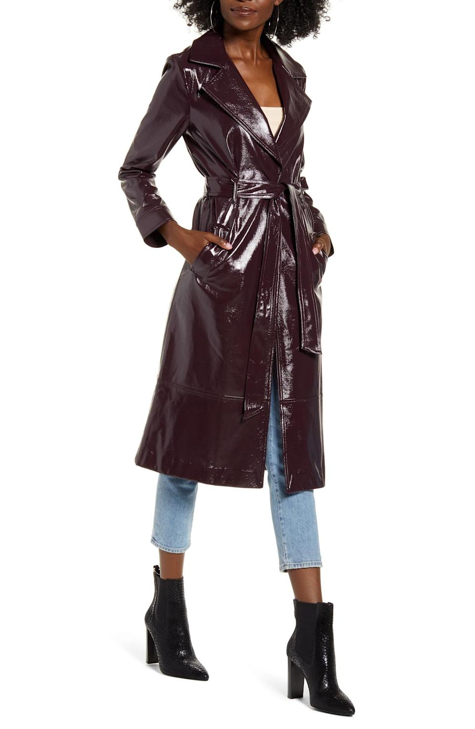 """<h3><a href=""""https://shop.nordstrom.com/s/leith-faux-patent-leather-trench-coat/5001018/lite"""" rel=""""nofollow noopener"""" target=""""_blank"""" data-ylk=""""slk:Leith Faux Patent Leather Trench Coat"""" class=""""link rapid-noclick-resp"""">Leith Faux Patent Leather Trench Coat</a></h3><br><a href=""""https://refinery29.com/en-us/clothing-essentials-what-to-buy-2020#slide-1"""" rel=""""nofollow noopener"""" target=""""_blank"""" data-ylk=""""slk:Trench coats"""" class=""""link rapid-noclick-resp"""">Trench coats</a> made the cut or <a href=""""https://refinery29.com/en-us/clothing-essentials-what-to-buy-2020"""" rel=""""nofollow noopener"""" target=""""_blank"""" data-ylk=""""slk:forecasted wardrobe essentials in 2020"""" class=""""link rapid-noclick-resp"""">forecasted wardrobe essentials in 2020</a>, with this faux-patent style securing an on-sale spot at the top of readers' carts. <br><br><strong>Leith</strong> Faux Patent Leather Trench Coat, $, available at <a href=""""https://shop.nordstrom.com/s/leith-faux-patent-leather-trench-coat/5001018/lite?siteid=tv2R4u9rImY-1IILGv5zHlku1Xf_5RBbBw&utm_source=rakuten&utm_medium=affiliate&utm_campaign=tv2R4u9rImY&utm_content=1&utm_term=729223&utm_channel=affiliate_ret_p&sp_source=rakuten&sp_campaign=tv2R4u9rImY"""" rel=""""nofollow noopener"""" target=""""_blank"""" data-ylk=""""slk:Nordstrom"""" class=""""link rapid-noclick-resp"""">Nordstrom</a>"""