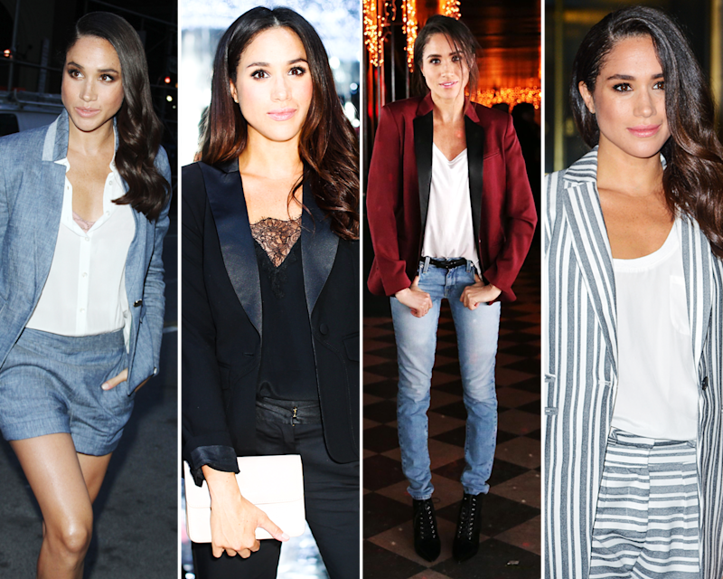 Meghan Markle loves a blazer (often, intriguingly and unusually, paired with matching shorts!).