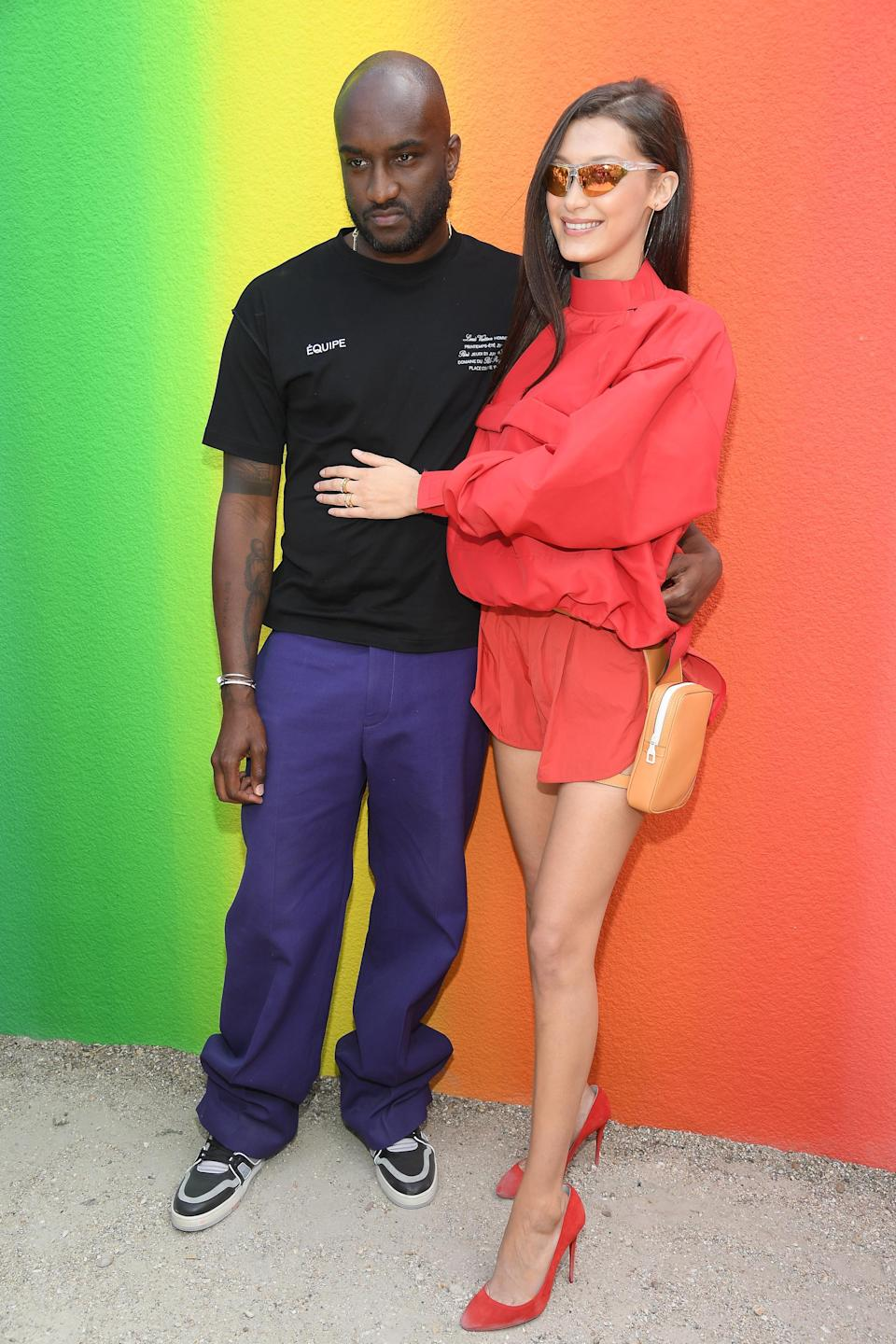 <p>On 21 June, Bella Hadid joined a gaggle of A-listers at designer Virgil Abloh's debut Louis Vuitton show in Paris. For the momentous occasion, the model took athleisure to new heights in this season's most sought after sunnies with a belt bag attached to her leg. <em>[Photo: Getty]</em> </p>