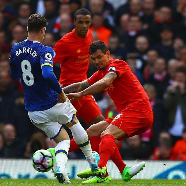 <span>Barkley collected a booking for a heavy challenge on Lovren</span>