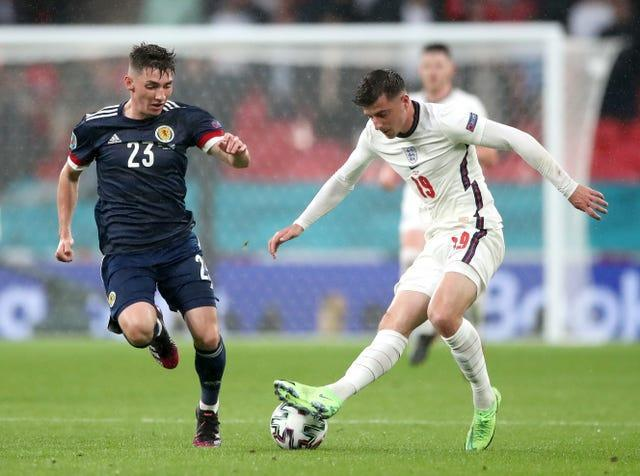 Scotland's Billy Gilmour, left, tested positive for coronavirus on Monday