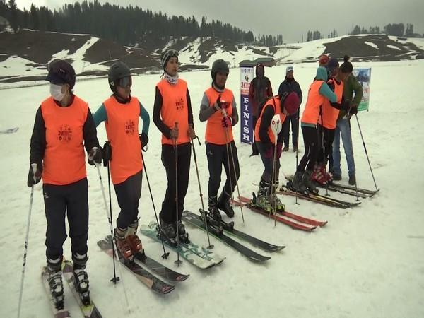 Participants at the ski mountaineering event at the second edition of Khelo India winter games in Gulmarg.