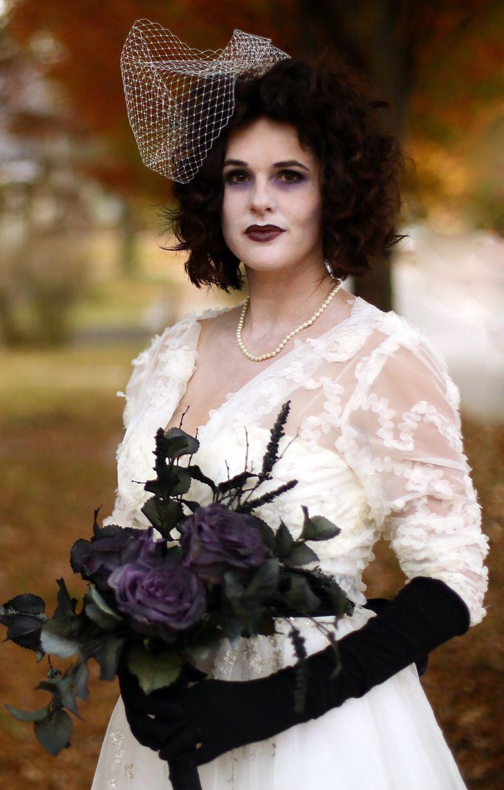 """<p>Re-wear your own wedding dress—or go get a cheap one from Goodwill. Add black ghostly makeup, faux flowers, and you're done!</p><p><strong>Get the tutorial at <a href=""""https://www.starsandfield.com/whatiwore/halloween-2015-corpse-bride"""" rel=""""nofollow noopener"""" target=""""_blank"""" data-ylk=""""slk:Stars + Field"""" class=""""link rapid-noclick-resp"""">Stars + Field</a>.</strong></p><p><strong>What you'll need:</strong> black elbow-length gloves ($5, <a href=""""https://www.amazon.com/Costume-Gloves-Halloween-Accessories-STC12037/dp/B002MOJKPI/?tag=syn-yahoo-20&ascsubtag=%5Bartid%7C10050.g.4571%5Bsrc%7Cyahoo-us"""" rel=""""nofollow noopener"""" target=""""_blank"""" data-ylk=""""slk:amazon.com"""" class=""""link rapid-noclick-resp"""">amazon.com</a>); black lipstick ($6, <a href=""""https://www.amazon.com/COVERGIRL-Lipstick-Created-Panther-packaging/dp/B01E527A9M/?tag=syn-yahoo-20&ascsubtag=%5Bartid%7C10050.g.4571%5Bsrc%7Cyahoo-us"""" rel=""""nofollow noopener"""" target=""""_blank"""" data-ylk=""""slk:amazon.com"""" class=""""link rapid-noclick-resp"""">amazon.com</a>)</p>"""