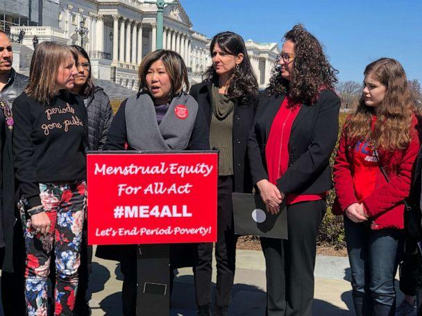 PHOTO: Congresswoman Grace Meng speaks at a press conference on Capitol Hill in March 2019 to announce the introduction of the Menstrual Equity for All Act. (Office of Congresswoman Grace Meng)