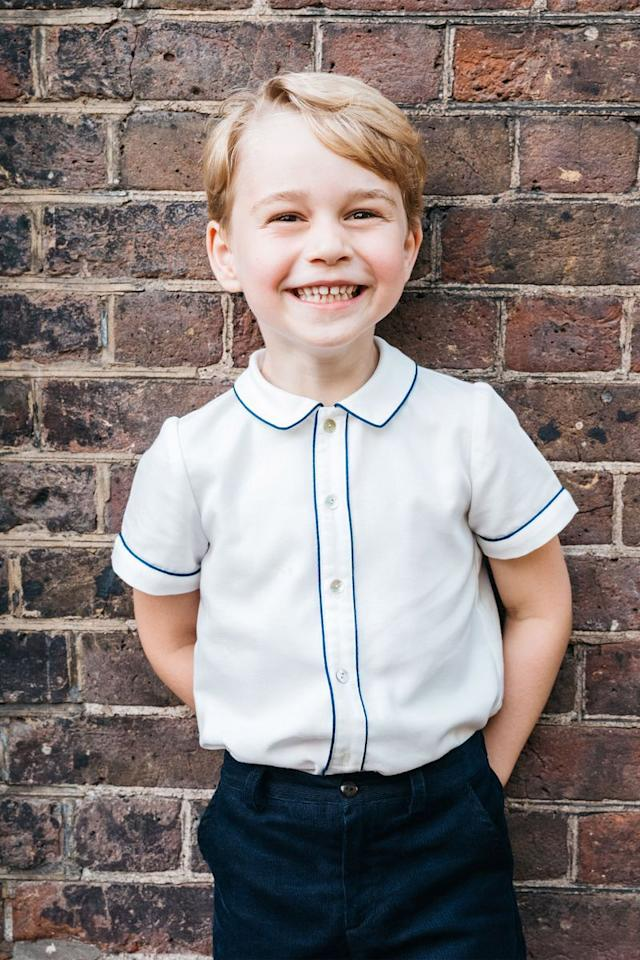 <p>Five-year-old Prince George is the oldest child and firstborn son of the Duke and Duchess of Cambridge, and the great-grandson of Queen Elizabeth II. The tot is currently third in line for the throne following his grandfather, Prince Charles, and his father, Prince William. </p>