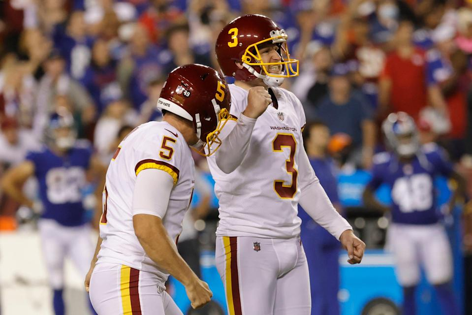 Washington kicker Dustin Hopkins celebrates with holder Tress Way, left, after his game-winning 43-yard field goal as time expired last Thursday.