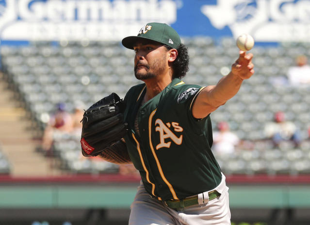 Oakland Athletics starting pitcher Sean Manaea throws against the Texas Rangers in the fourth inning of a baseball game Sunday, Sept. 15, 2019, in Arlington, Texas. (AP Photo/Richard W. Rodriguez)