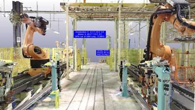 MR Studio hybrid rendered LiDAR point cloud with integrated IoT data (CNW Group/Arvizio Inc.)
