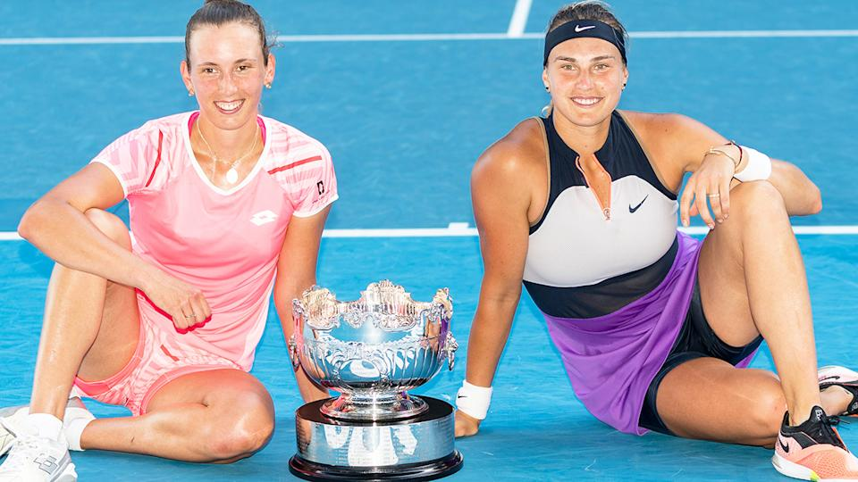 Elise Mertens and Aryna Sabalenka, pictured here after winning the Australian Open doubles final.