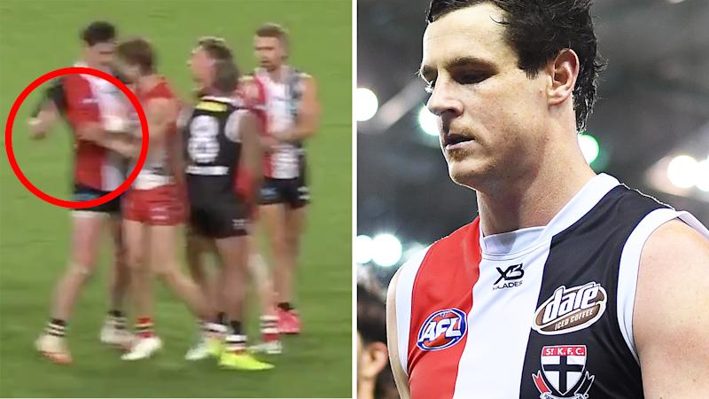 A 50-50 image shows a screenshot of Jake Carlisle attempting to hit Dane Rampe's injured hand, and a picture of him walking off the field on the right.