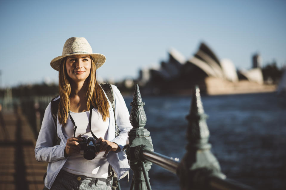 Young girl enjoying her visit to Sydney