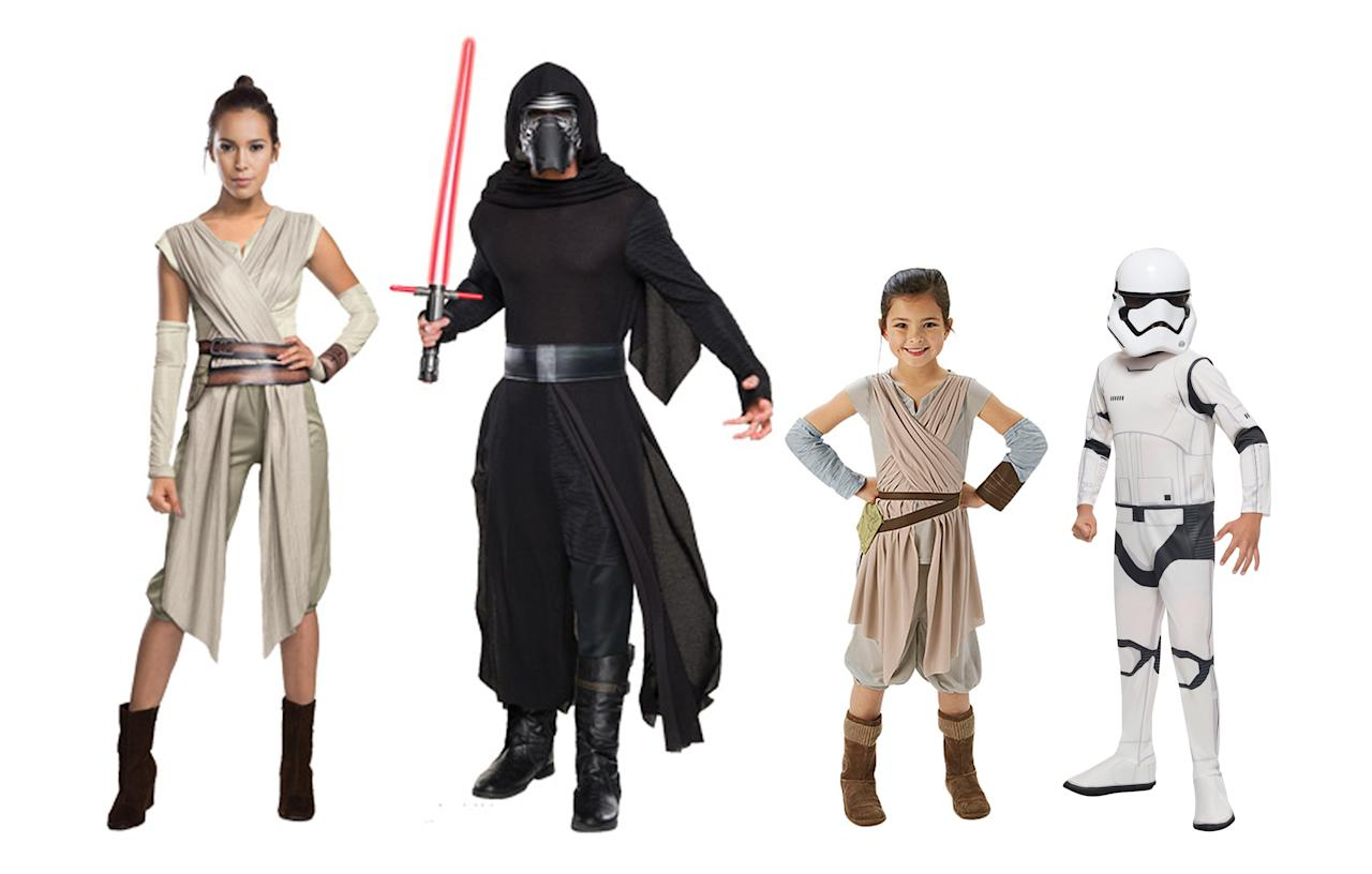 "<p><a rel=""nofollow"" href=""http://www.fancydress.com/costumes/search_result?term=star%20wars&pn=1&ps=0&fl=""><i>Fancy Dress, £151.94 for family of four</i></a><br /><br /></p>"