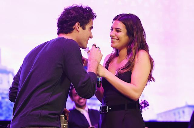 "<p><i>Glee</i> fans rejoiced when two stars of the beloved former show performed at the Broadway festival known as the Elsie Festival. Off-stage, the two also <a href=""https://twitter.com/LeaMichele/status/917365953196953600"" rel=""nofollow noopener"" target=""_blank"" data-ylk=""slk:snapped a pic"" class=""link rapid-noclick-resp"">snapped a pic</a> with another former co-star, Jenna Ushkowitz, and the show's creator, Ryan Murphy. (Photo: Jenny Anderson/Getty Images for Elsie Fest) </p>"
