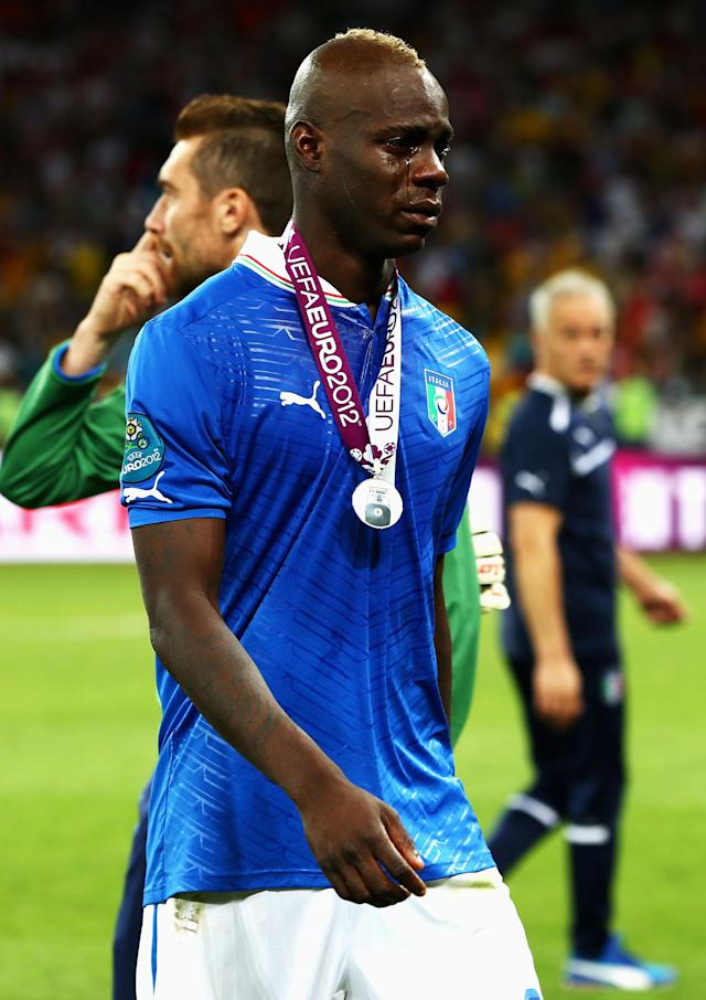 KIEV, UKRAINE - JULY 01: Mario Balotelli of Italy cries as he shows his dejection following defeat in the UEFA EURO 2012 final match between Spain and Italy at the Olympic Stadium on July 1, 2012 in Kiev, Ukraine. (Photo by Alex Grimm/Getty Images)