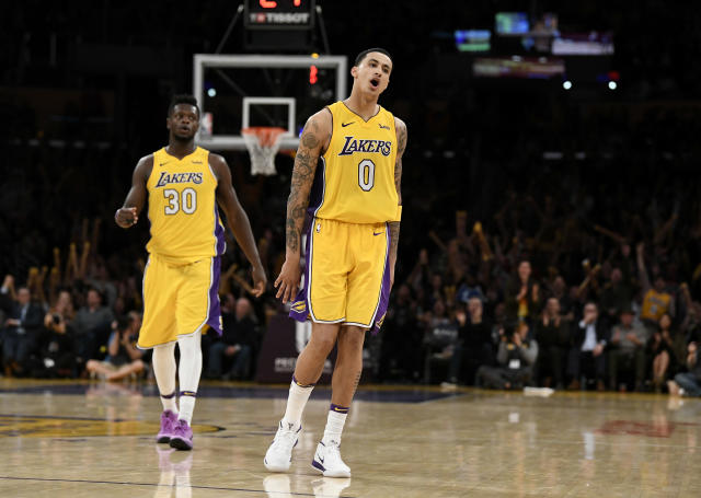 "<a class=""link rapid-noclick-resp"" href=""/nba/teams/lal"" data-ylk=""slk:Los Angeles Lakers"">Los Angeles Lakers</a>' <a class=""link rapid-noclick-resp"" href=""/nba/players/5840/"" data-ylk=""slk:Kyle Kuzma"">Kyle Kuzma</a>  <span>has greatly outperformed his ADP (135)</span>. (Photo by Robert Laberge/Getty Images)"