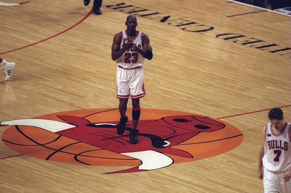 7 Jun 1998:  Michael Jordan #23 of the Chicago Bulls walks on the court during the NBA Finals Game 3 against the Utah Jazz at the United Center in Chicago, Illinois.  The Bulls defeated the Jazz 96-54. Mandatory Credit: Jonathan Daniel  /Allsport
