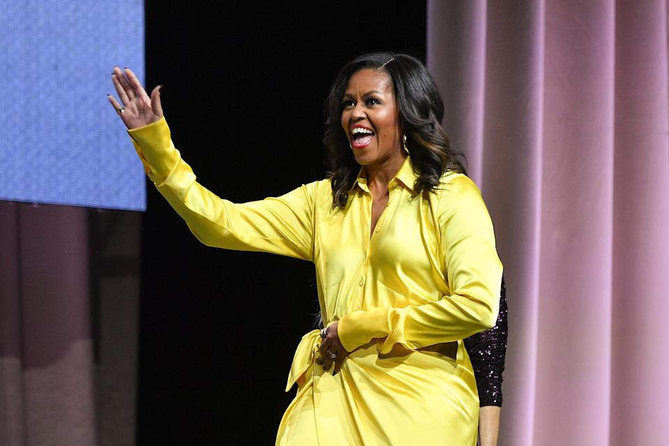 Former first lady Michelle Obama discusses her book <em>Becoming</em> at Barclays Center on Dec. 19 in New York City. (Photo: Dia Dipasupil/Getty Images)
