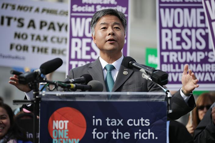 Rep. Ted Lieu, D-Calif., addresses a rally against the Republican tax plan. (Photo: Chip Somodevilla/Getty Images)