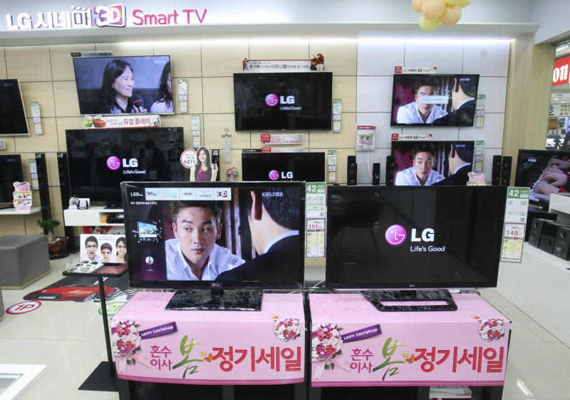 LG Electronics 3D Smart TVs are displayed at a Yongsan Electronic shop in Seoul, South Korea, Wednesday, April 25, 2012. LG Electronics Inc. posted its first profit in three quarters, beating expectations thanks to a revival in its mobile business and demand for high-end TVs. (AP Photo/Ahn Young-joon)