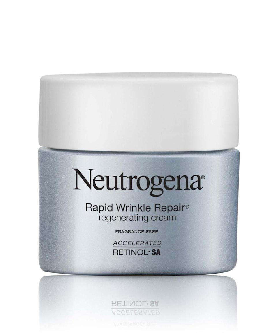 "<p><strong>Neutrogena</strong></p><p>target.com</p><p><strong>$22.49</strong></p><p><a href=""https://www.target.com/p/neutrogena-rapid-wrinkle-repair-hyaluronic-acid-retinol-cream-1-7oz/-/A-51108848"" rel=""nofollow noopener"" target=""_blank"" data-ylk=""slk:Shop Now"" class=""link rapid-noclick-resp"">Shop Now</a></p><p>You'll notice smoother, brighter skin and softened lines in just a week of daily use. But as with all retinol, you'll need to keep using it for the results to stick around.</p>"