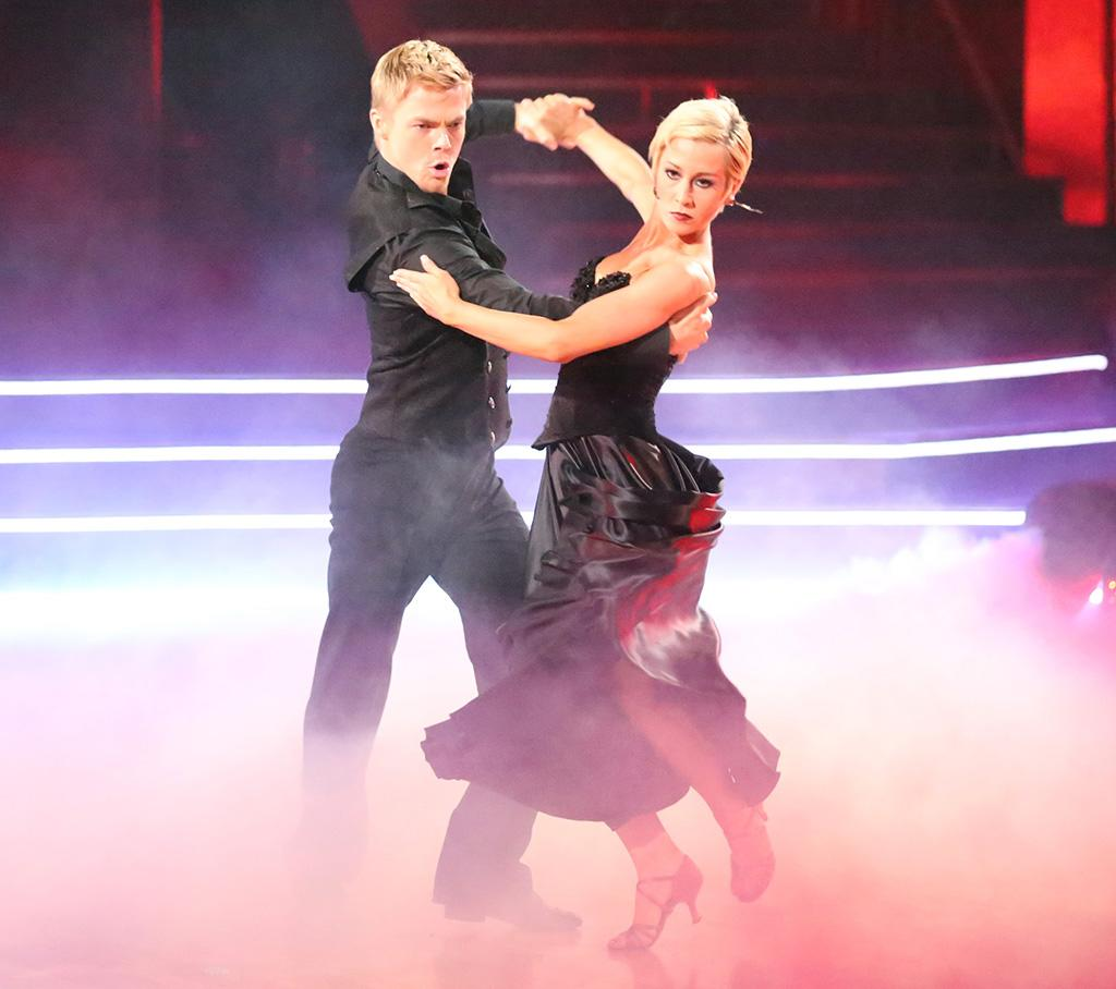 Kellie and Derek's Week 8 trio paso doble with Tristan MacManus was one of the most controversial dances of the season (Len had a major meltdown over its content and slammed the team with a 7), and its dark theme was out of character for the perky Southern belle. Still, her striking all-black ensemble helped to bring out her dark side.