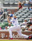 Atlanta Braves' Charlie Culberson (16) hits a two-run double in the third inning of a baseball game against the Baltimore Orioles, Sunday, June 24, 2018, in Atlanta. (AP Photo/Todd Kirkland)