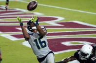 Seattle Seahawks wide receiver Tyler Lockett (16) pulls in a touchdown pass as Arizona Cardinals cornerback Dre Kirkpatrick (20) defends during the second half of an NFL football game, Sunday, Oct. 25, 2020, in Glendale, Ariz. (AP Photo/Ross D. Franklin)