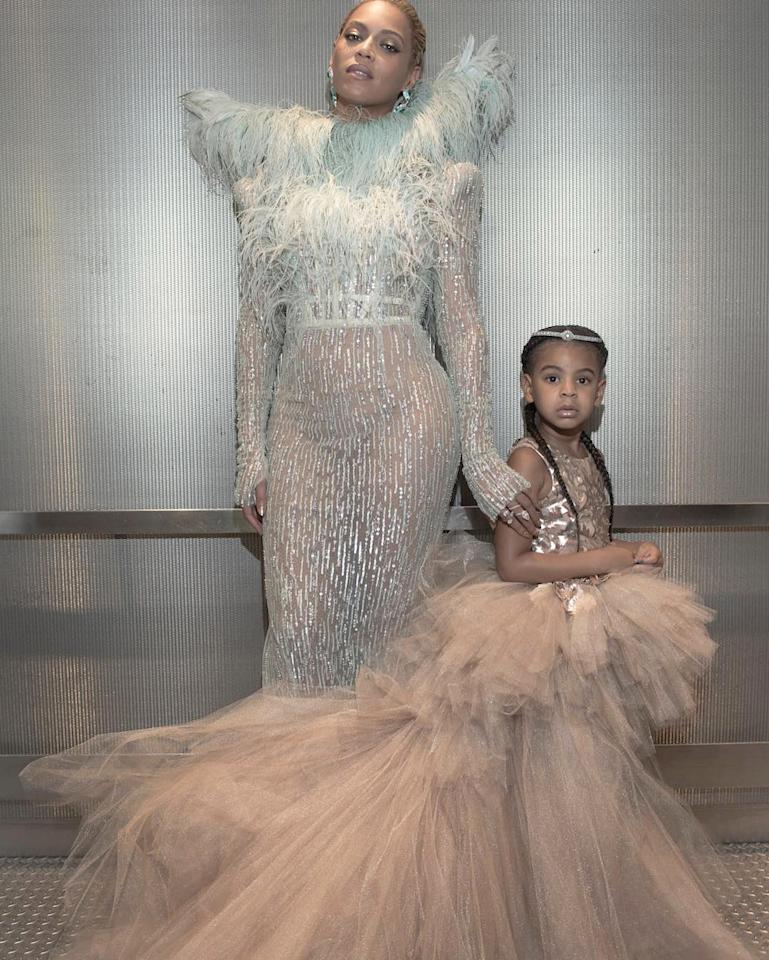 "<p>Blue's tulle-tastic Mischka Aoki dress is worth $10,950 (!), while her bejeweled <a rel=""nofollow"" href=""https://www.giuseppezanottidesign.com/us/dolly-8536"">DOLLY</a> shoes cost $565. If we take this out of couture terms, here's what it looks like: the then 4-year-old's gown (which we're assuming won't get a ton of wear, considering the train and all...) costs roughly the same as the average adult's yearly rent. </p>"