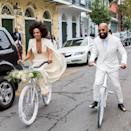 <p>What better way to celebrate your nuptials than by wearing an outfit you can actually move around in? That's exactly what Solange Knowles did on her way to marry music video director Alan Ferguson in New Orleans on November 16, 2014. Her look was totally stunning, yet super comfy — she could even ride a bike in it!</p>