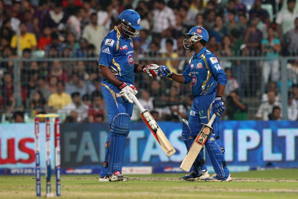 Kieron Pollard and Ambati Rayudu before the last over during match 33 of the Pepsi Indian Premier League between The Kolkata Knight Riders and the Mumbai Indians held at the Eden Gardens Stadium in Kolkata on the 24th April 2013. (BCCI)