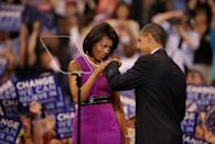 <p>When they fist-bumped each other at a rally in St. Paul, MN. [Photo: Getty/Scott Olson]</p>