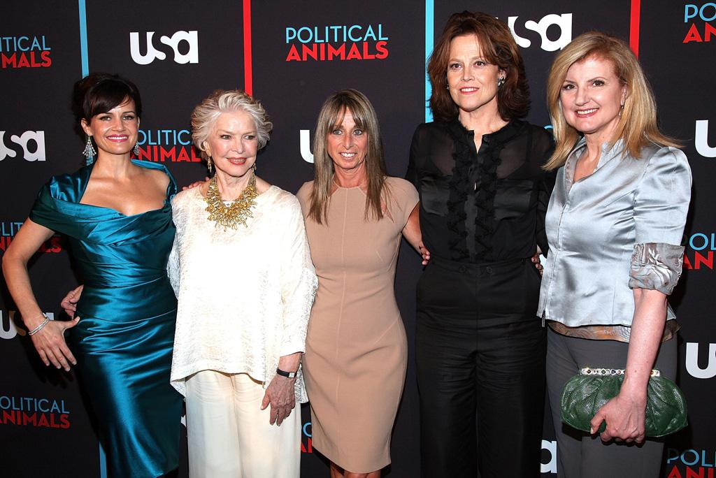 "Carla Gugino, Ellen Burstyn, Bonnie Hammer, Sigourney Weaver and Arianna Huffingtonattend the ""Political Animals"" premiere at The Morgan Library & Museum on June 25, 2012 in New York City."