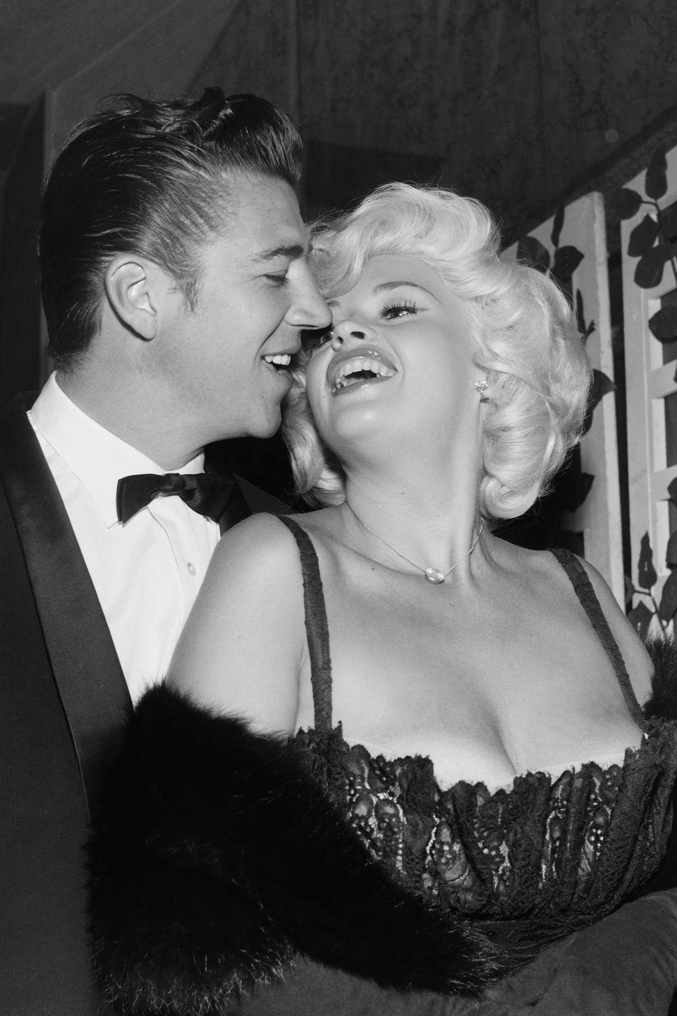 <p>The film siren chose a lingerie-inspired gown with balconnette top for the 1958 award's ceremony. </p>