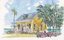 """<p>This petite coastal cottage by Moser Design Group features an open kitchen and living area, a bedroom, and a full bath packed in 484 square feet. All it needs is a pair of rockers on the front porch for taking in the view. </p> <p>One bedroom, one bath</p> <p>484 square feet</p> <p>See plan: <a href=""""https://houseplans.southernliving.com/plans/SL1117?index=1&search%5Bplan%5D=bungalow&search%5Butf8%5D=✓"""" rel=""""nofollow noopener"""" target=""""_blank"""" data-ylk=""""slk:Beachside Bungalow (SL-1117)"""" class=""""link rapid-noclick-resp"""">Beachside Bungalow (SL-1117)</a></p>"""