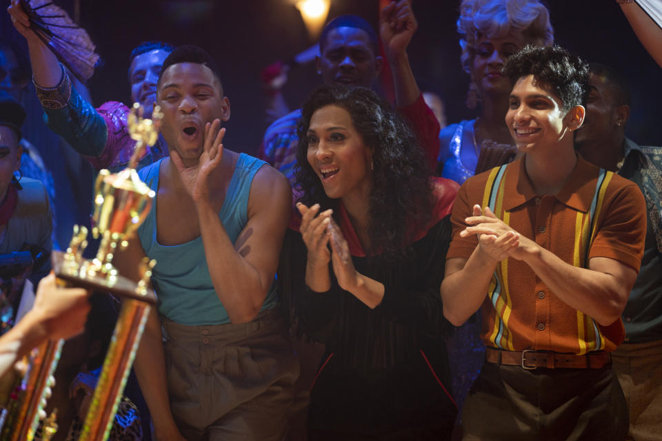 Ryan Jamaal Swain as Damon, Mj Rodriguez as Blanca, and Angel Bismark Curiel as Lil Papi in the Season 2 premiere of FX's 'Pose' (Macall Polay/FX)
