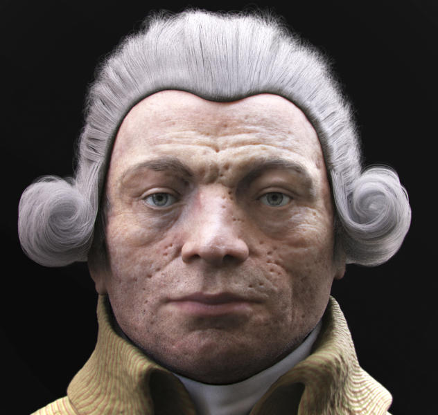 This 3D reconstruction released Friday Dec.20, 2013 by VisualForensic shows Robespierre's face according to two French scientists. Robespierre who unleashed the French Revolution's Terror then became a victim of the guillotine he championed, gets a new _ and critics say unnecessarily frightful _ face and a malady that might explain the chronic ailments he reportedly suffered. Portrayed alternately as a monster or the extremist grandfather of French radical social justice, the 3D pock-marked face of Robespierre re-opened political debate that dates to the bloodiest days of French history. (AP Photo/VisualForensic, Philippe Froesch, Batabat)